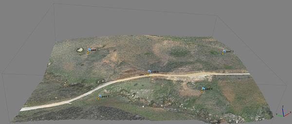 modellazione 3d di un'area in frana
